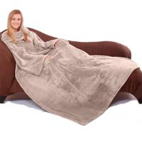 Cobertor Tv Com Mangas Microfibra 1,35X1,70M - Taupe