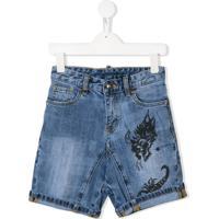 John Richmond Junior Printed Denim Shorts - Azul