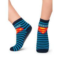 Meia Puket Soquete Com Sola Emborrachada (Pansock) Superman Marinho - Azul Marinho - Dafiti