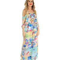 Vestido Longo 101 Resort Wear Com Recorte Azul