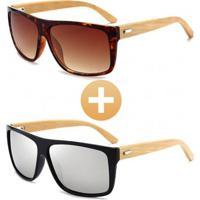 Combo Com 2 Óculos Polarizado Com Hastes Em Bambu Marrom Prata