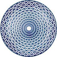 Prato Decorativo Diamente Branco E Azul 2,3X19,5X19,5