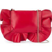 Red(V) Blusa Ombro único Com Acabamento De Babados - Vermelho