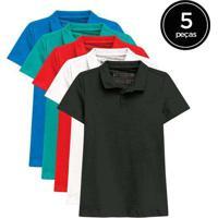 Kit De 5 Camisas Polo Femininas De Várias Cores Ve