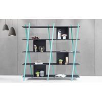 Estante Para Livros Preta 5 Prateleiras Com Pés De Madeira Cor Azul - Sue - 180X38X180 Cm
