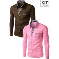 Kit 2 Camisas Slim Fit Detail - Marrom E Rosa