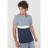 Camisa Polo Aleatory Reta Tricolor Bordado Azul/Branca