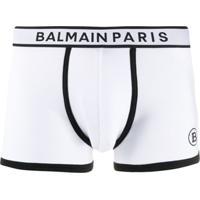 Balmain Cueca Boxer Com Logo Bordado - Branco
