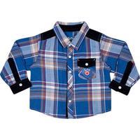 Camisa Xadrez Com Bolso- Azul Escuro & Vermelhatip Top