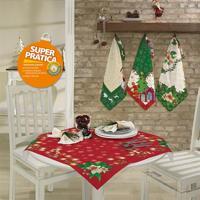 Toalha De Mesa Quadrada 75Cm X 75Cm Decorativa Natal 36465