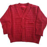 Casaco De Lã Quadriculado Tricô Kids Vermelho