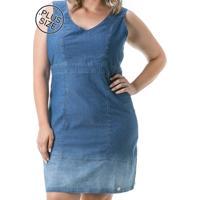 Vestido Jeans Confidencial Extra - Plus Sie Regata Casual Com Recortes - Azul