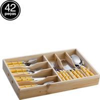 Faqueiro Bon Gourmet Bamboo 42 Pçs Marrom