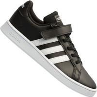 Tênis Adidas Grand Court - Infantil - Preto/Branco