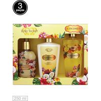 Kit 3Pçs Love Secret Loção Deo Coporal Sabon. Liq Body Splash Coconut