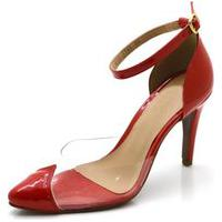 Sapato Scarpin Salto Alto Em Napa Verniz Vermelho Com Transparência