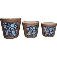 Jogo De Cachepots Florais- Marrom Claro & Azul Escuro
