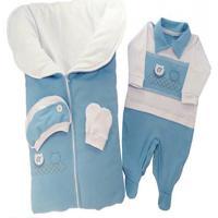Saída De Maternidade I9 Baby Otávio Azul 100% Algodão