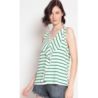 Blusa Canelada Listrada- Off White & Verde- Sommersommer