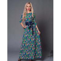 Vestido Longo Floral Com Laço - Verde Xgg