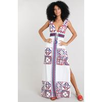 Vestido Feminino Longo Com Estampa De Azulejo E Tassel Alça Larga Off White