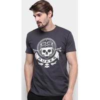 Camiseta Silk Rukes Motorcycle Masculina - Masculino-Chumbo