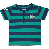 Camiseta Listrada Com Botãµes- Azul Marinho & Verde ÁGuatip Top