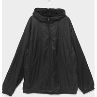 Jaqueta Corta Vento Sportwear Styles Com Capuz Plus Size Masculina - Masculino-Preto