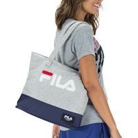 Bolsa Fila Fleece - 15 Litros - Feminina - Cinza/Azul Esc