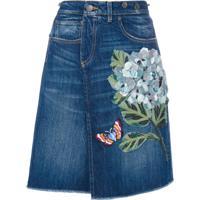 Dolce & Gabbana Saia Jeans Com Bordado - Azul
