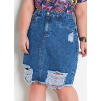 Saia Jeans Destroyed Plus Size