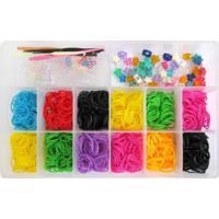 Caixa Organizadora Com 1200 Elásticos Ezbandz Colorido - Tricae