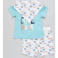 Conjunto Infantil De Camiseta Manga Curta Verde Água + Bermuda Estampada Em Moletom + Babador Cinza Mescla Claro