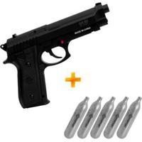Pistola De Pressão A Gás Co2 Sa P92 Swiss Arms 4.5Mm + 5 Cilindros Co2 - Unissex