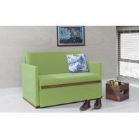 Sofá Cama Pequeno Thin - Sofá Bicama Estofado Verniz Castanho Tecido Verde 125X90X85Cm