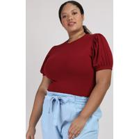 Blusa Feminina Plus Size Canelada Manga Curta Bufante Decote Redondo Vinho