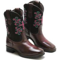 Bota Lookstock Country Texana Bordada Macia Feminina - Feminino-Marrom+Rosa