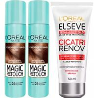 Kit 2 Corretivo Capilar Magic Retouch Castanho Claro 1 Leave-In Elseve Cicatri Renov - 50Ml - Unissex-Incolor