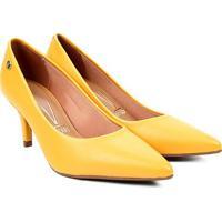 Scarpin Vizzano Bico Fino Salto Médio - Feminino-Amarelo