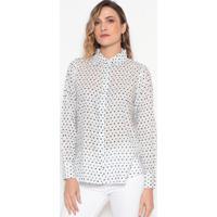 Camisa Poá - Off White & Azuldudalina