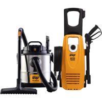 Aspirador De Pó E Água 1600W E Lavadora De Alta Pressão Eco Wash 2350 1650W Wap Preto/Amarelo/Inox 220V