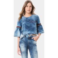 Blusa Cropped Com Bordado Jeans - Lez A Lez