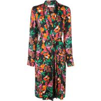 Diane Von Furstenberg Trench Coat Com Estampa Floral - Preto