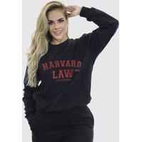 Blusa Moletom Feminino Moleton Básico Suffix Preto Estampa Harvard Law Vermelho