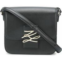 Karl Lagerfeld Bolsa Transversal Com Placa De Logo - Preto