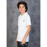 Camisa Polo Juvenil Branca Com Mangas Curtas