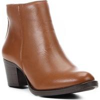 Bota Couro Cano Curto Shoestock Salto Confort Feminina - Feminino-Caramelo
