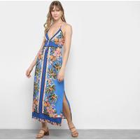 Vestido Longo Farm Férias De Verão - Feminino-Azul