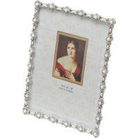 Porta-Retrato Com Strass- Prateado & Off White- 15X1Rojemac