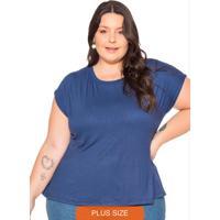 Blusa Feminina Com Fenda Nas Costas Azul Marinho